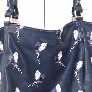 Birds of paradise vegan leather blue tote bag EUC